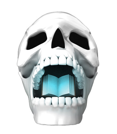 isolated human skull head with opened book in jaws illustration illustration