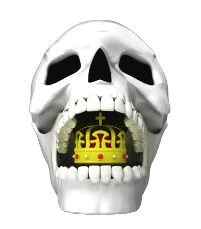 isolated human skull head with royal crown in jaws illustration illustration