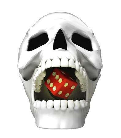 isolated human skull head with lucky dice in jaws illustration illustration