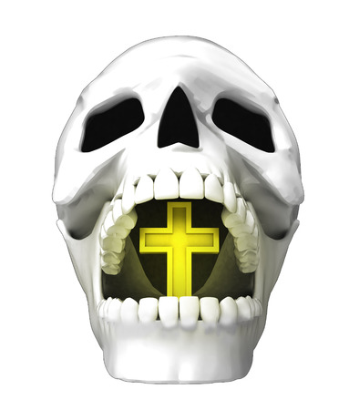 isolated human skull head with golden bell in jaws illustration