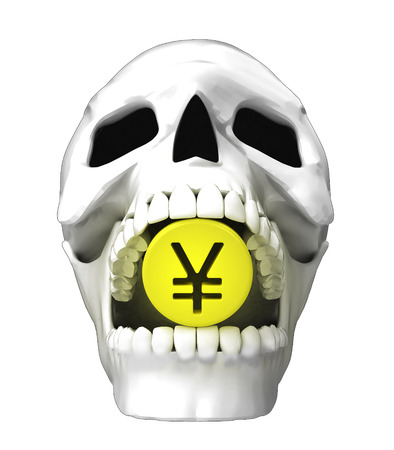 isolated human skull head with golden Yuan coin in jaws illustration illustration