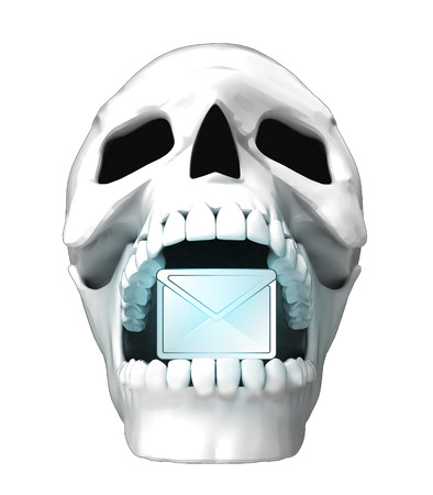 jaws: isolated human skull head with email message in jaws illustration