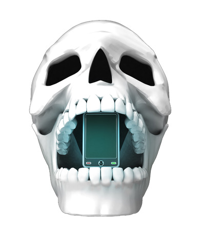jaws: isolated human skull head with undead smart phone in jaws illustration