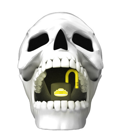 jaws: isolated human skull head with opened padlock in jaws illustration