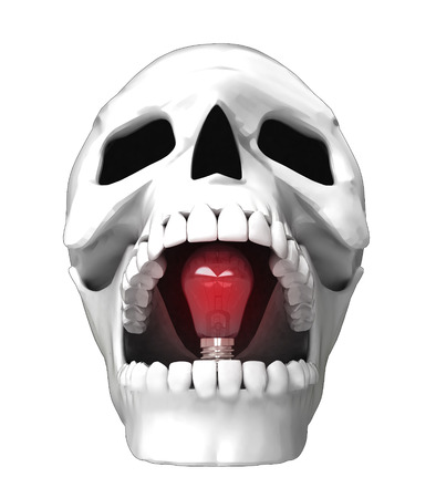 isolated human skull head with shiny red bulb in jaws illustration illustration