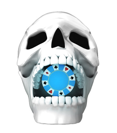 jaws: isolated human skull head with poker chip in jaws illustration