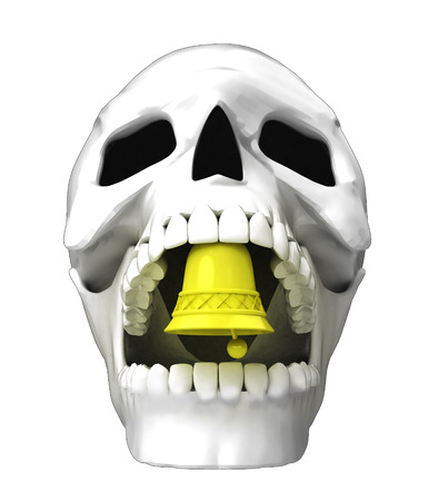 isolated human skull head with golden bell in jaws illustration Stock Illustration - 25709984