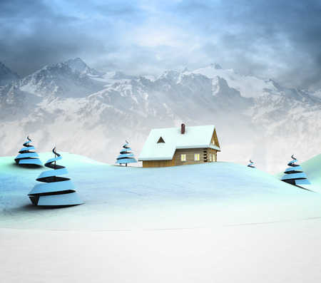 Lonely mountain hut with high mountain landscape illustration illustration