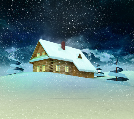 accomodation: Mountain cottage with trees at winter snowfall illustration