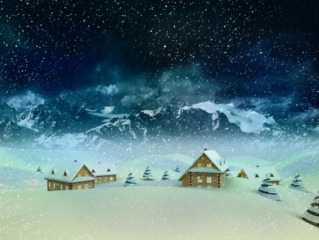 Mountain village scene at winter snowfall illustration illustration