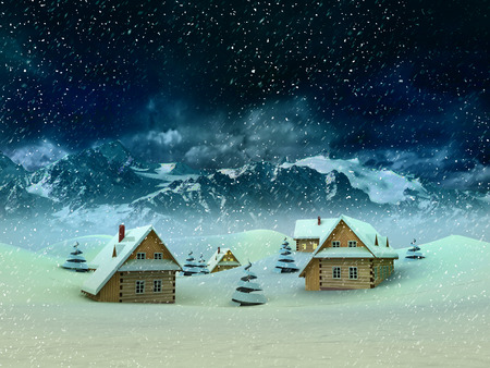 winter village with mountains and snowfall illustration illustration