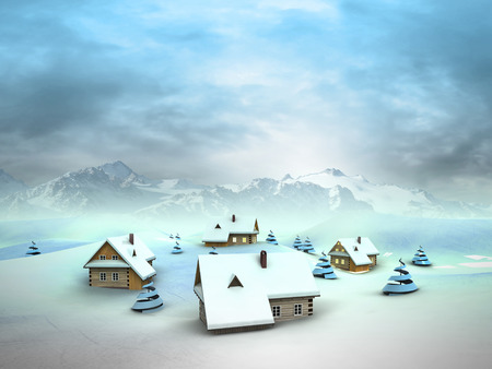 Winter village resort with high mountain landscape illustration illustration