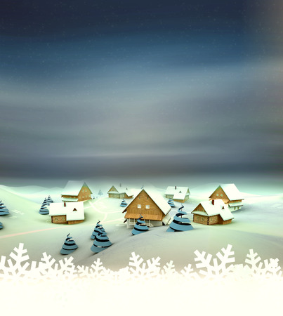 Winter village general view card with white space illustration illustration