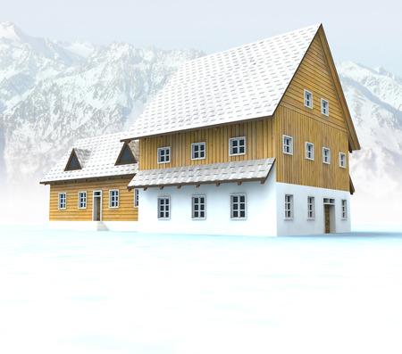 timbered: Idyllic mountain hut with blue sky illustration Stock Photo
