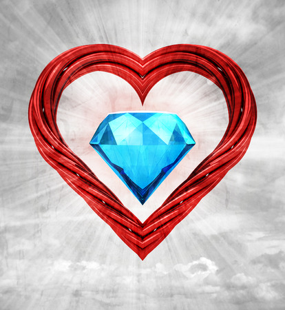 luxurious gem stone in red pipe shaped heart on sky grunge background illustration 版權商用圖片