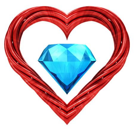 luxurious gem stone in red pipe shaped heart isolated on white illustration
