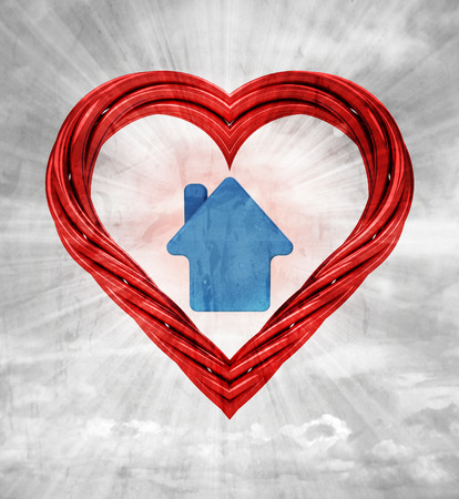house icon in red pipe shaped heart on sky grunge background illustration