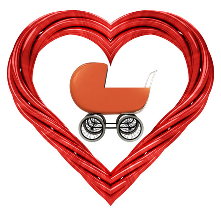 baby carriage in red pipe shaped heart isolated on white illustration