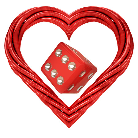 godness: lucky dice in red pipe shaped heart isolated on white illustration
