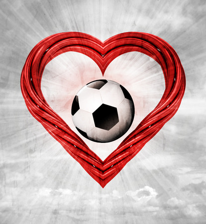 favourite football ball in red pipe shaped heart on sky grunge background illustration illustration
