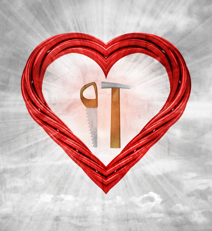 favourite manual tools in red pipe shaped heart on sky grunge background illustration