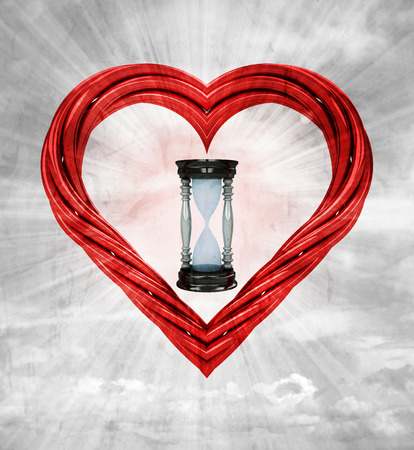 hourglass in red pipe shaped heart on sky grunge background illustration illustration