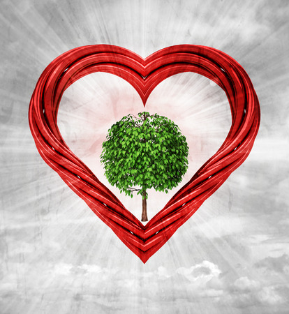 leafy tree in red pipe shaped heart on sky grunge background illustration