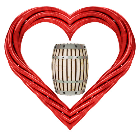 tun: beverge keg in red pipe shaped heart isolated on white illustration Stock Photo