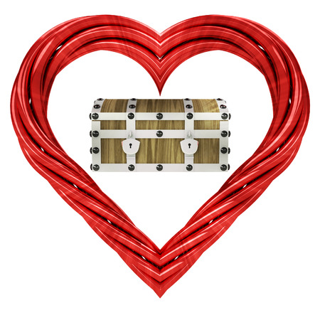 closed chest in red pipe shaped heart isolated on white illustration illustration