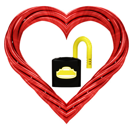 open padlock in red pipe shaped heart isolated on white illustration illustration