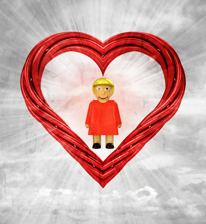 happy woman in red pipe shaped heart on sky grunge background illustration 版權商用圖片