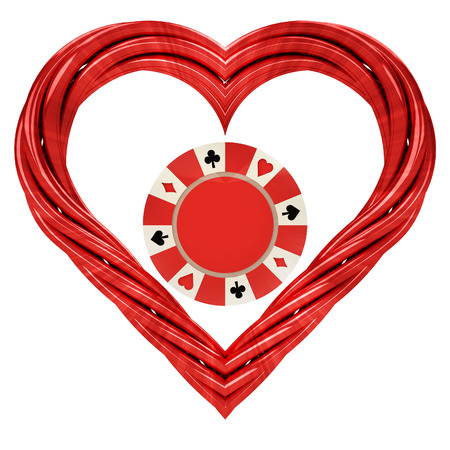 poker chip in red pipe shaped heart isolated on white illustration