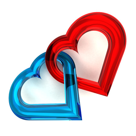 red and blue glassy heart together isolated on white illustration illustration