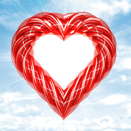 red glassy tube shaped heart in sky flare illustration illustration