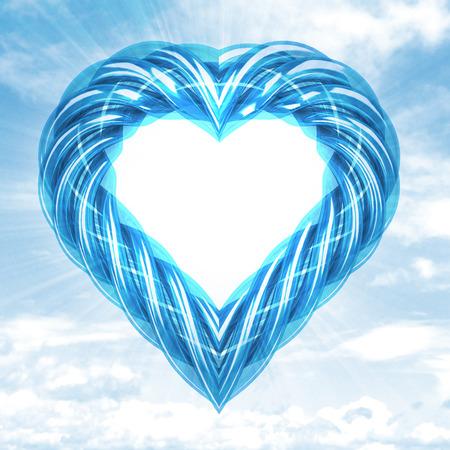 blue glassy tube shaped heart in sky flare illustration