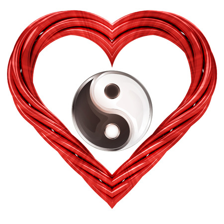 harmony symbol in red pipe shaped heart isolated on white illustration