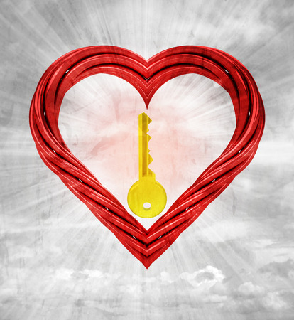 golden key in red pipe shaped heart on sky grunge background illustration illustration
