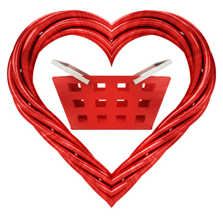 shopping basket in red pipe shaped heart isolated on white illustration
