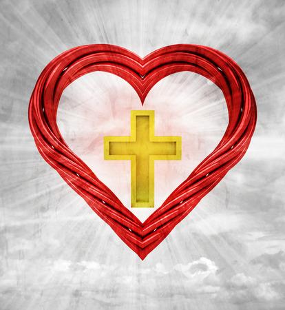 godness: golden cross in red pipe shaped heart on sky grunge background illustration