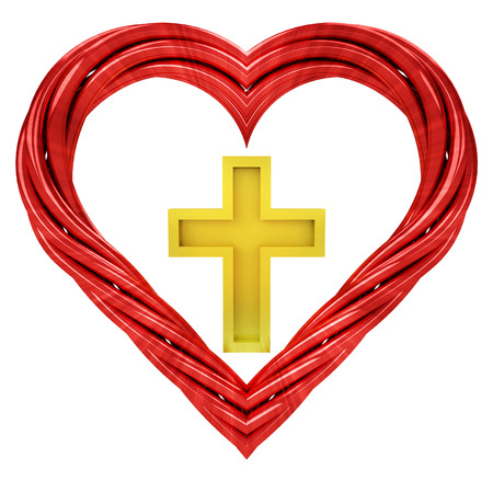 golden cross in red pipe shaped heart isolated on white illustration