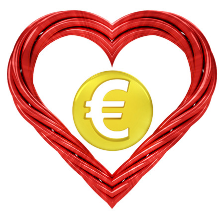 euro golden coin in red pipe shaped heart isolated on white illustration illustration