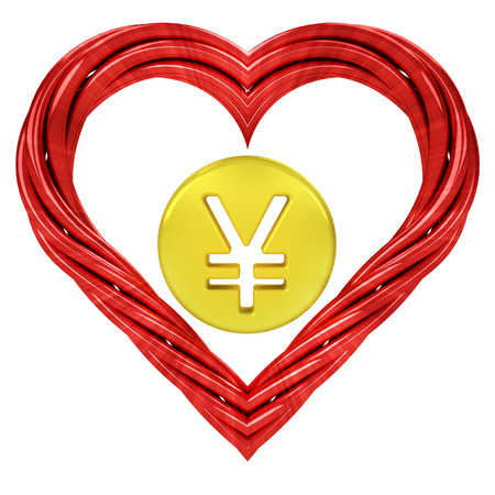 yuan golden coin in red pipe shaped heart isolated on white illustration 版權商用圖片