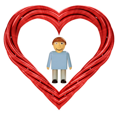 happy man in red pipe shaped heart isolated on white illustration