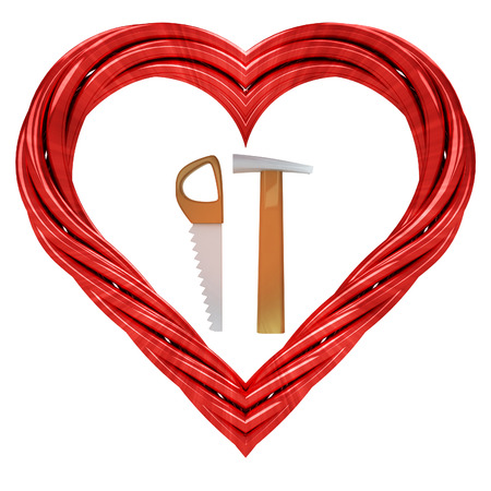 dyi: favourite manual tools in red pipe shaped heart isolated on white illustration