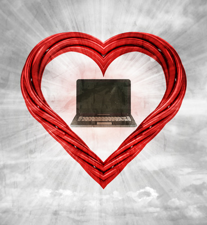 modern notebook in red pipe shaped heart on sky grunge background illustration