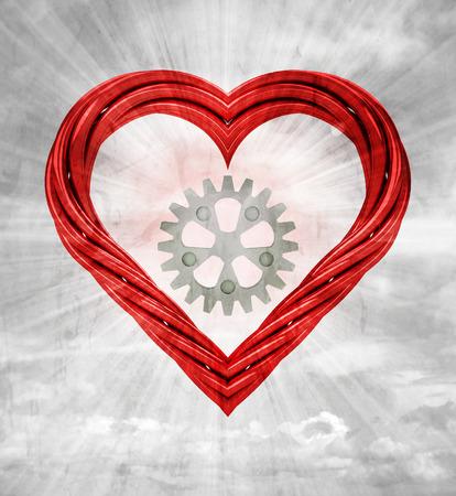 industrial cogwheel in red pipe shaped heart on sky grunge background illustration 版權商用圖片