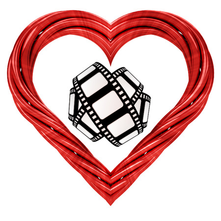 movie tape in red pipe shaped heart isolated on white illustration