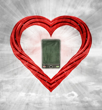 new smart phone in red pipe shaped heart on sky grunge background illustration illustration