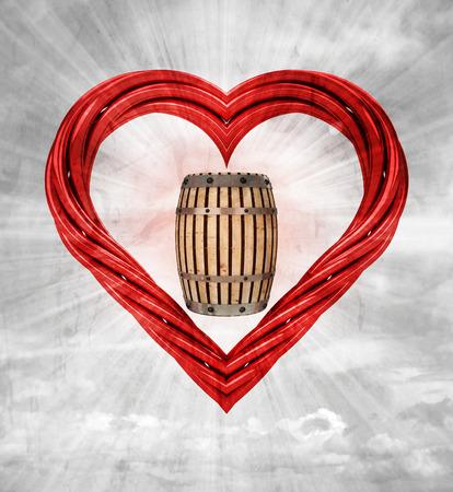 beverge keg in red pipe shaped heart on sky grunge background illustration