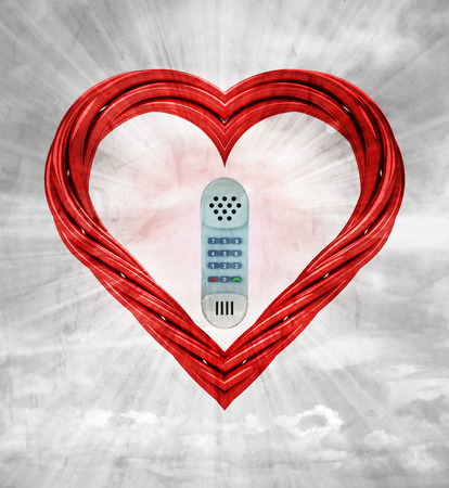 retro telephone in red pipe shaped heart on sky grunge background illustration illustration